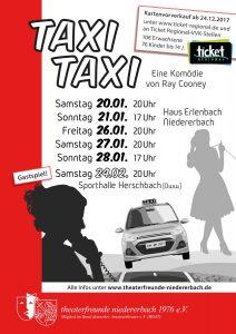 Plakat zum diesjährigen Stück Taxi Taxi